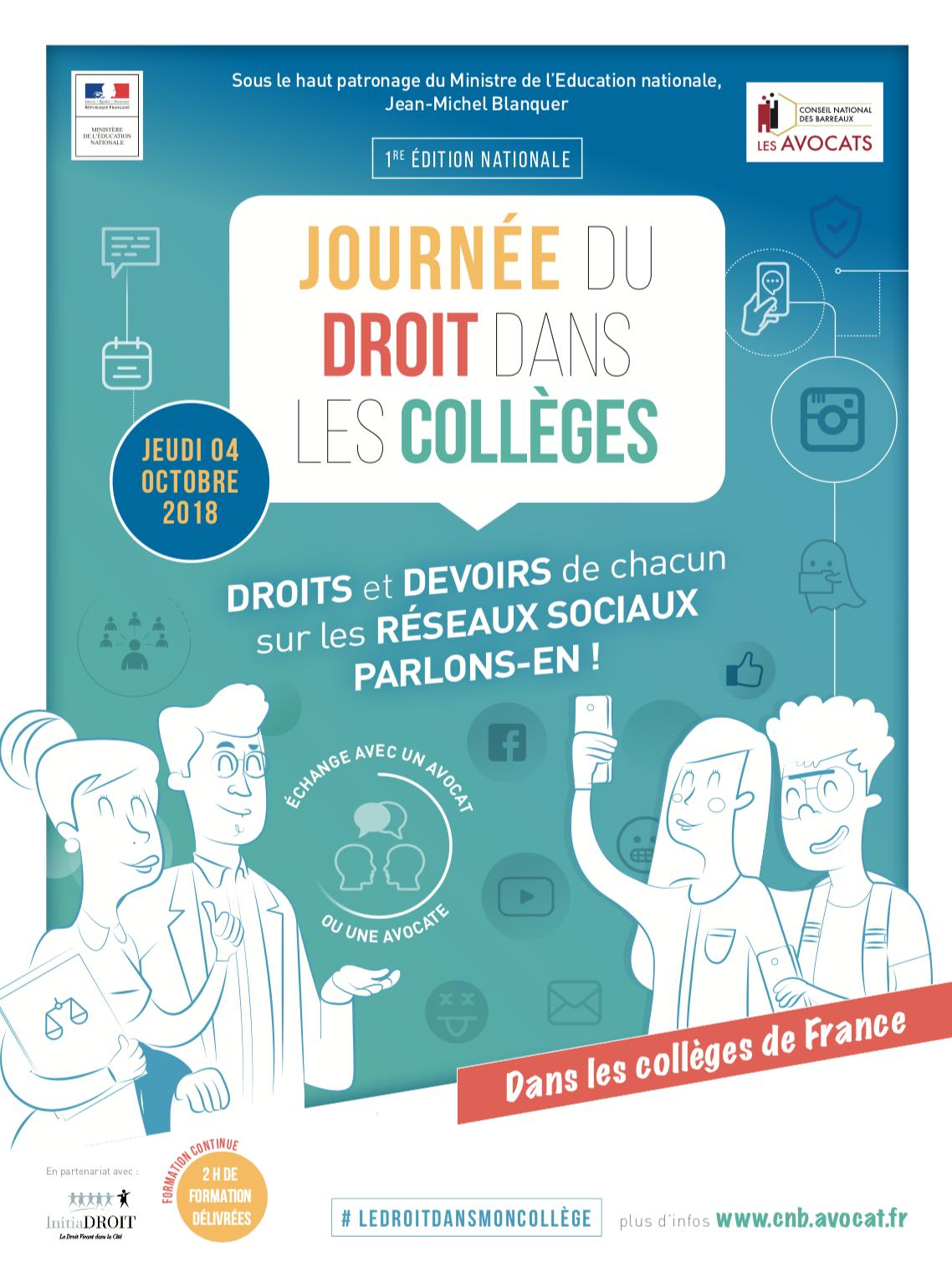 Affiche Journee du droit dans les colleges 2018 CNB