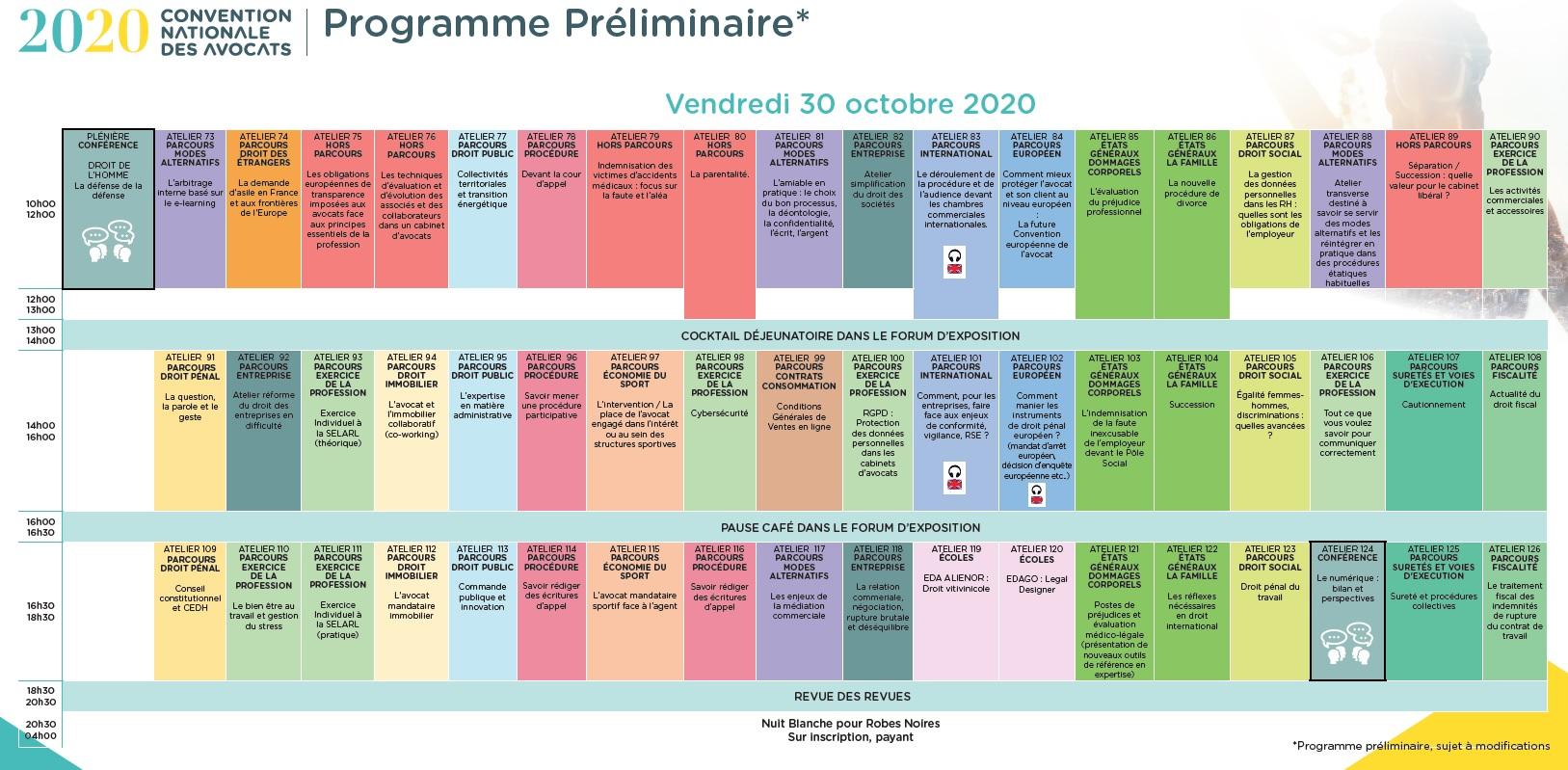 CNDA 2020 - Programme du 30 octobre